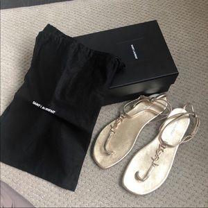 Saint Laurent Gold Sandals